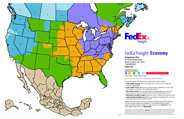 FedEx Freight Time Estimate Map - Outbound View From Canfield, OH