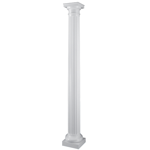8 x 8 39 fluted round permacast column with tuscan cap base for Permacast columns
