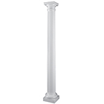 "8"" x 8' Fluted Round PermaCast® Column with Tuscan Cap & Base"