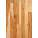 "Prefinished <b>Clear Semi-Gloss</b> 3/4"" x 3"" Hickory Select Grade Flooring"