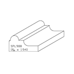 "1-1/16"" x 1.940"" Cherry Custom Chair Rail - SPL988"