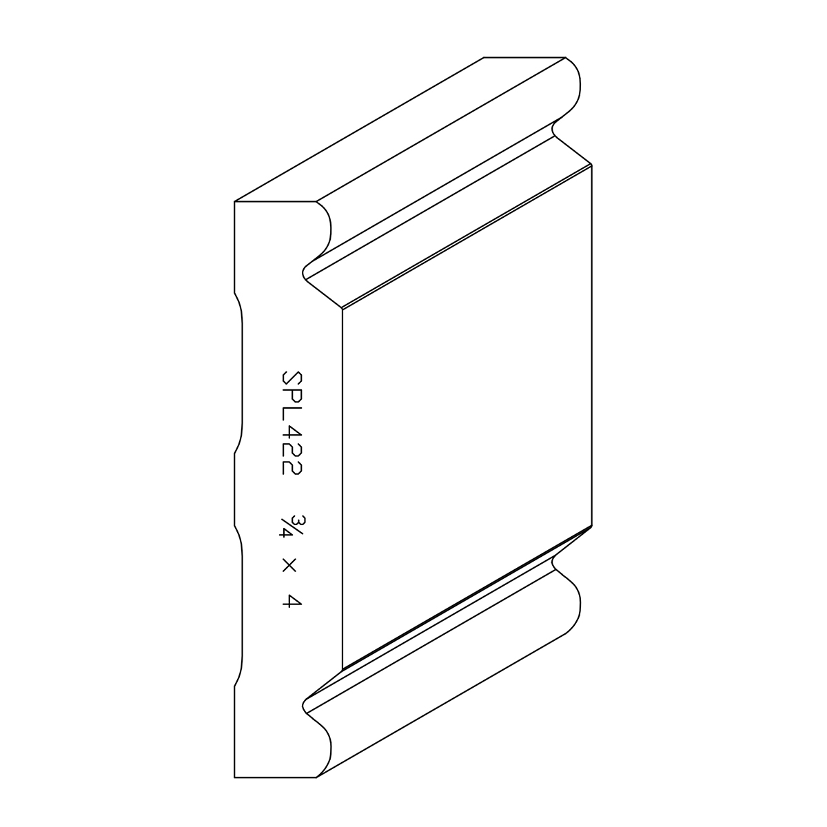 """3/4"""" X 4"""" Poplar Custom Chair Rail"""