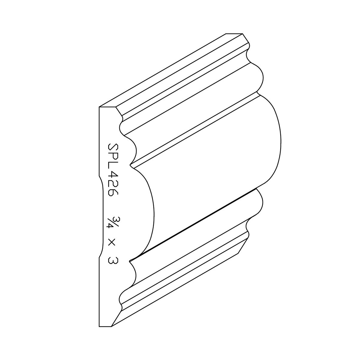 """3/4"""" X 3"""" Poplar Custom Chair Rail"""