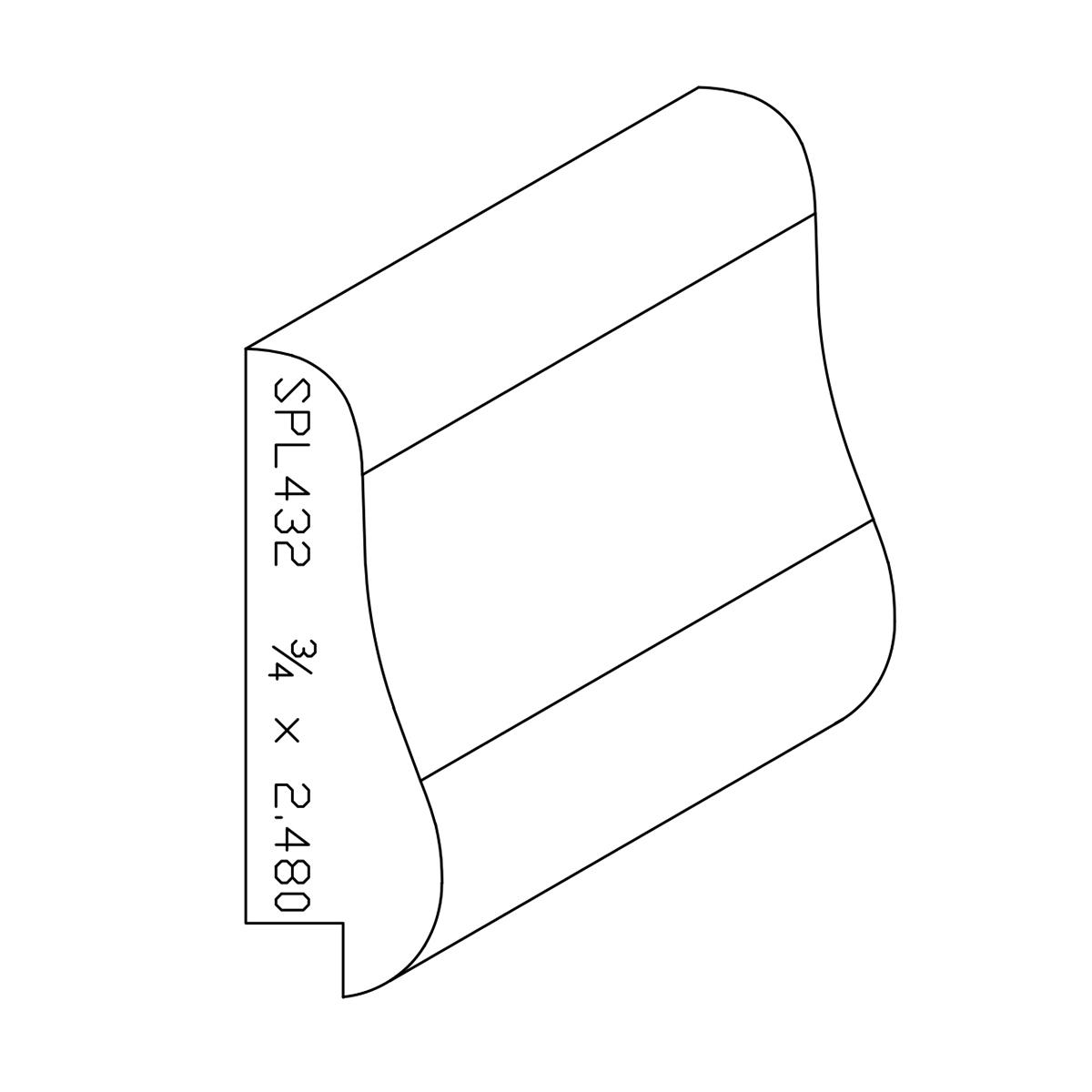 """3/4"""" X 2.480"""" Poplar Custom Chair Rail"""