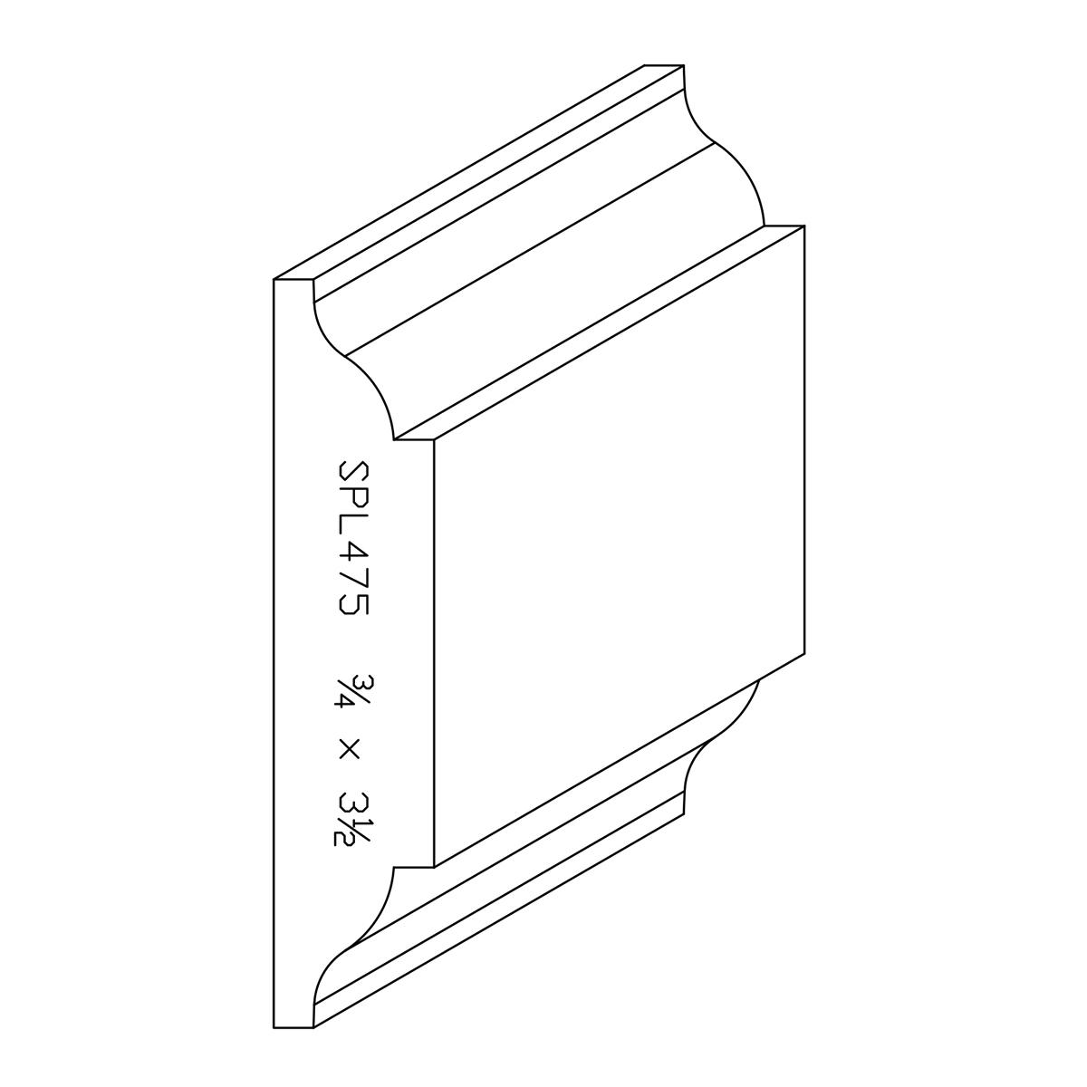 """3/4"""" X 3-1/2"""" Poplar Custom Chair Rail"""