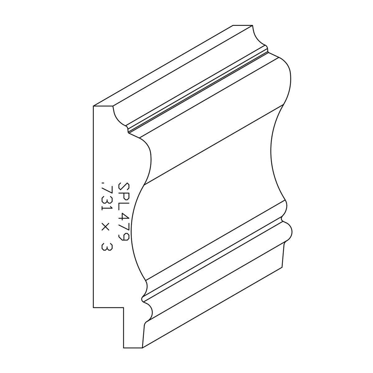 """0.731"""" X 3"""" Poplar Custom Chair Rail"""