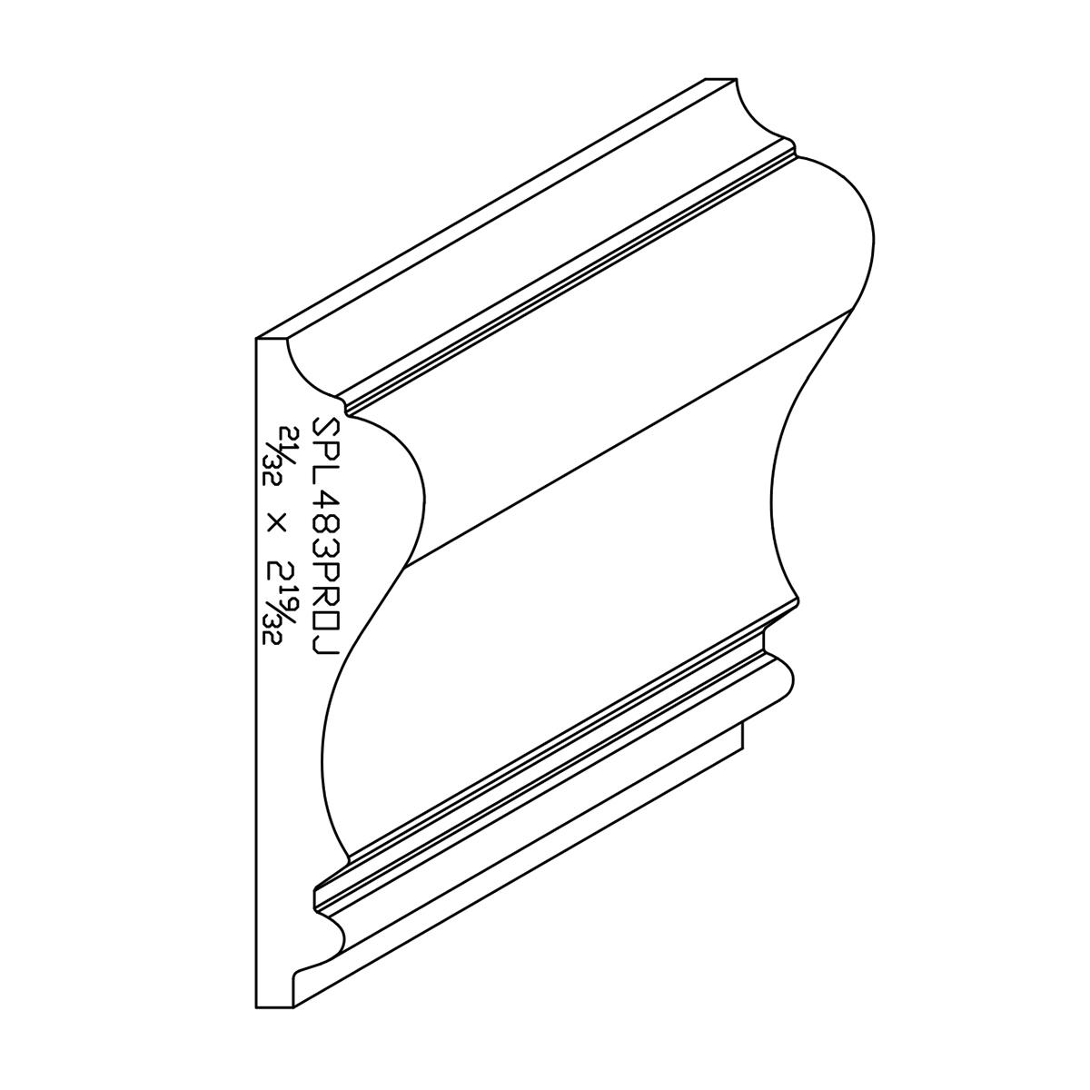 """0.650"""" X 2.580"""" Poplar Custom Chair Rail"""