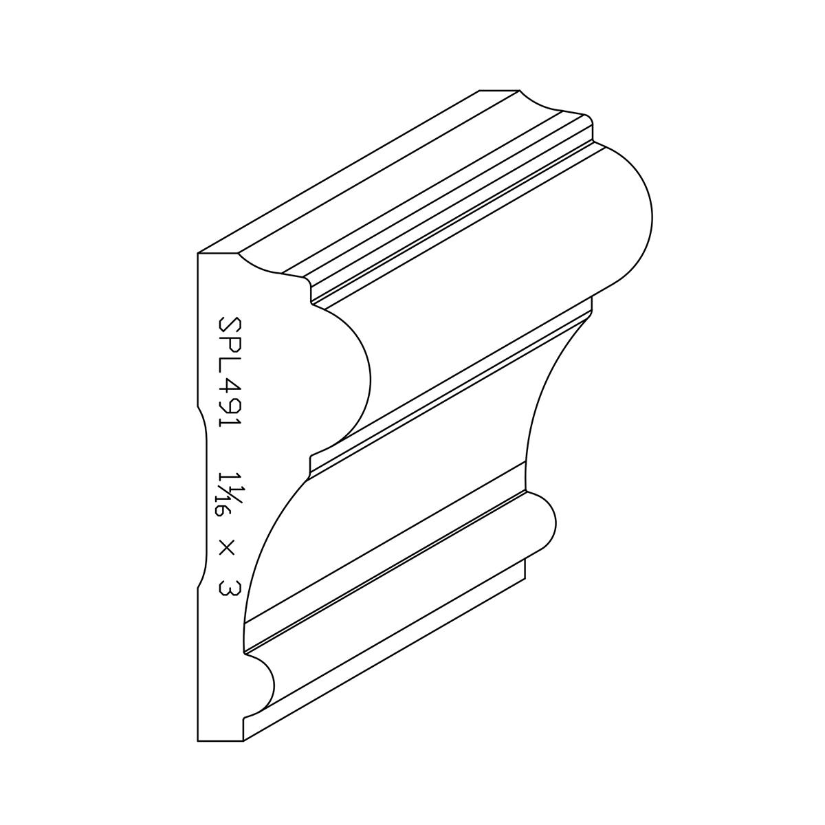 """1.063"""" X 3"""" Custom Poplar Chair Rail"""