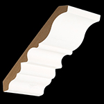 "11/16"" x 7"" MDF Primed Crown Moulding - MDF4700"