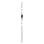 "L.J. Smith 1/2"" Hollow Iron Square Kneewall Baluster LIH-KW1BASK44, Matte Black"