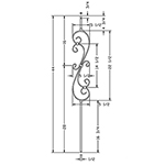 "L.J. Smith 1/2"" Hollow Iron Square Kneewall Baluster LIH-KW60144, Matte Black"
