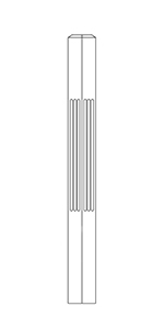 "3-1/2"" x 48"" Cherry Fluted Short Utility Newel - LJF4000"