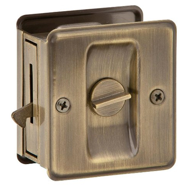 Ives By Schlage Solid Antique Brass (609) Privacy Sliding Pocket Door Lock