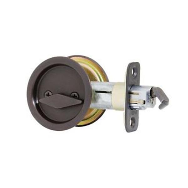 Kwikset Oil Rubbed Bronze Privacy Round Pocket Door Lock