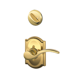 Schlage St Annes Bright Brass Keyed Interior Entrance Lock Set LH Lever
