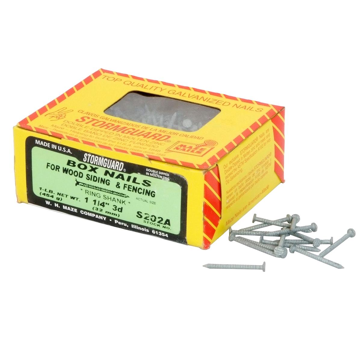 Maze 1 1 4 Quot Box Nails For Wood Siding Amp Fencing 1lb Box
