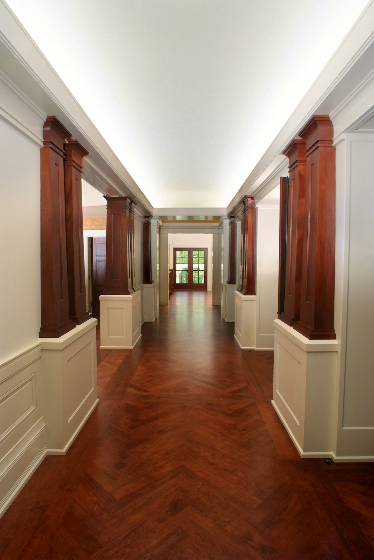 Custom Mahogany Interior Wood Columns Cherry Herringbone Hardwood Flooring
