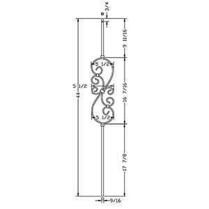 "L.J. Smith 1/2"" Iron Square Baluster  LI-50144, Satin Black"