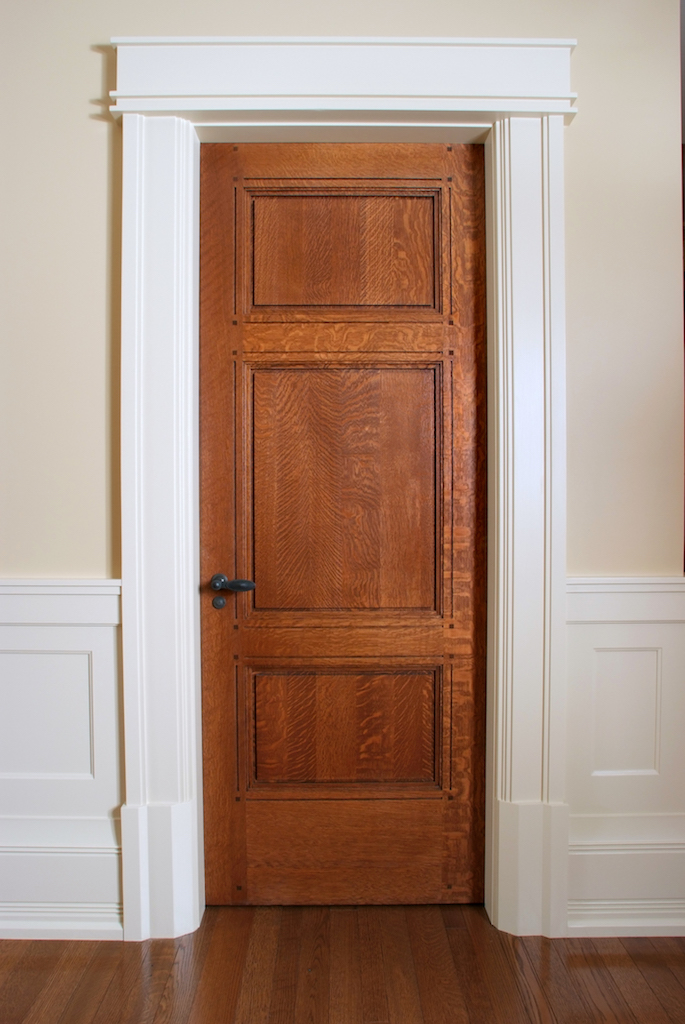 Custom 3 Panel Quarter Sawn White Oak Interior Door Custom White Casing